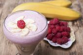 Banana Smoothie With Raspberries And Yogurt.