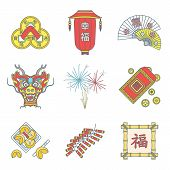 color flat style chinese new year icons set