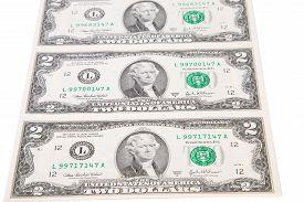 stock photo of two dollar bill  - Two dollar bills - JPG
