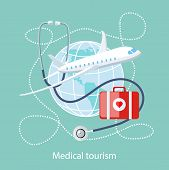 image of medical  - Flat design style modern concept of medical services abroad - JPG