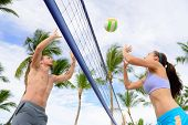 picture of volleyball  - Friends playing beach volleyball sport - JPG