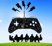 stock photo of controller  - Game Controller Control Confusion Technology Concept - JPG