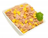 image of sweet-corn  - Flaked tuna fish and sweet corn mix in a dish isolated on a white background - JPG