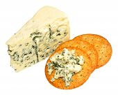 pic of biscuits  - Danish blue veined cheese wedge with cheese biscuits isolated on a white background - JPG
