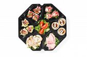 stock photo of buffet  - buffet box with cover set catering canape isolated - JPG