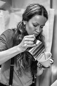 image of hot coffee  - Female bartender in the workplace - JPG