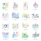 picture of treble clef  - Music notes bass and treble clefs and staves shadow icons set isolated vector illustration - JPG