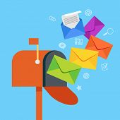 E-mail concept . Marketing e-mail . Mailbox and colored envelopes surrounded by icons . File is save poster