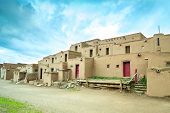 picture of pueblo  - Adobe settlement represents the culture of the Pueblo Indians of Arizona and New Mexico USA - JPG