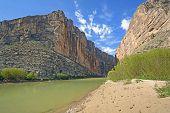stock photo of bend  - Rio Grande River Flowing Through Santa Elena Canyon in Big Bend National Park in Texas - JPG