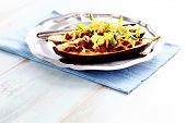 picture of aubergines  - stuffed aubergines with minced meat tomatoes and feta cheese  - JPG