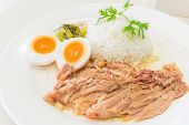 stock photo of stew  - Stewed pork leg and egg on rice - JPG