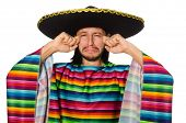 picture of sob  - Handsome man in vivid poncho isolated on white - JPG