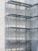 picture of scaffold  - Scaffolding stairs level with building Steel construction - JPG