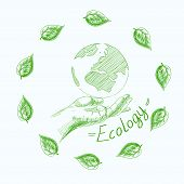 picture of save earth  - Earth globe in human hands planet protection care recycling save ecology concept - JPG