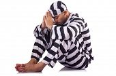 stock photo of inmate  - Prison inmate isolated on the white - JPG