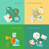 image of policy  - Compliance design concept set with regulations policies and requirements flat icons isolated vector illustration - JPG