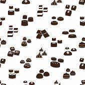 stock photo of truffle  - sweet chocolate truffles icons seamless pattern eps10 - JPG