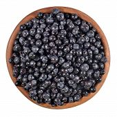 picture of fruit bowl  - Blueberries fruit in a wooden bowl on a white background - JPG