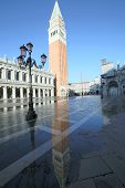 stock photo of tide  - Campanile of Saint Mark in Venice with the high tide ITALY - JPG