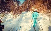 foto of snowy-road  - Green skier on snowy road in mountains  - JPG