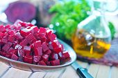 pic of beet  - beet salad on plate and on a table - JPG