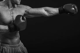 foto of boxing  - The man in boxing gloves - JPG