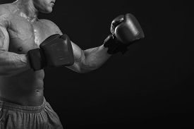 pic of boxing  - The man in boxing gloves - JPG