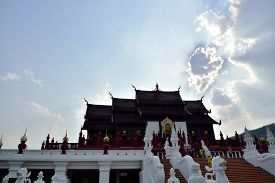 image of canopy roof  - Clouds on Sky shine  over the roof of the castle Ratchaphruek Garden Chiang Mai - JPG