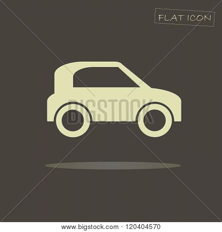 poster of Flat car icon. Light car on dark background. Icon vector