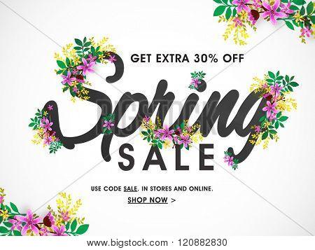 Spring Sale Banner, Sale Poster, Sale Flyer, Sale Vector. 30% Off, Vector illustration.