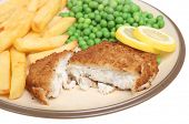 Breaded haddock with chips and peas