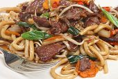 Chinese chilli beef with noodles