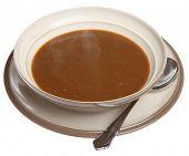 Sopa de rabo de boi quente com vapor subindo