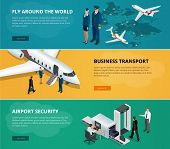 Постер, плакат: Airport web banner set Concept of international private airline Flying commercial and private pers
