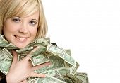stock photo of holding money  - Woman Holding Money - JPG