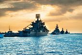 Military Navy Ships In A Sea Bay poster