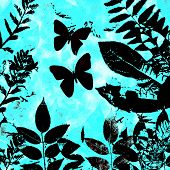 Leaves  Butterflies Blue Grunge