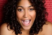 foto of african american woman  - Beautiful african american woman laughing - JPG