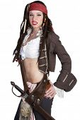 stock photo of wench  - Woman wearing pirate halloween costume - JPG