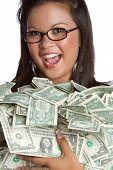 Beautiful asian woman holding money