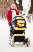 Mother With Pram  In Winter Park