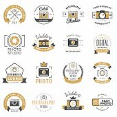Постер, плакат: Set Of Photography Logo Design Templates Photography Retro Badges And Labels Black And Golden Colo