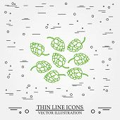 Постер, плакат: Hops Thin Line Design Hops Pen Icon Hops Pen Icon Vector Hops Pen Icon Drawing Hops Pen Icon Ima