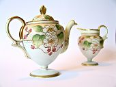 Handpainted Ceramic Tea Pot And Pitcher