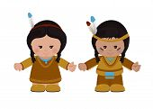 Постер, плакат: American Indians Man And Woman In National Dress