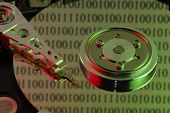 Abstract image of hard drive with green and red colors