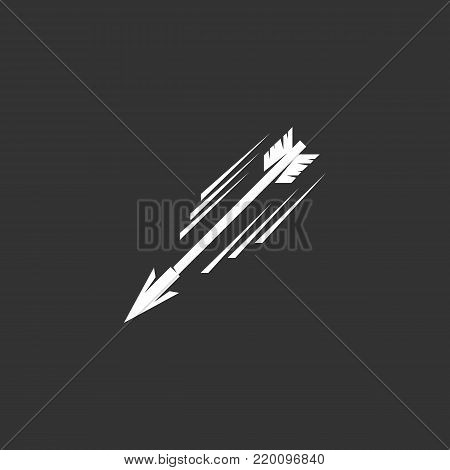 poster of Flying arrow icon illustration isolated on black background. Flying arrow vector logo. Flat design style. Modern vector pictogram, sign, symbol for web graphics - stock vector