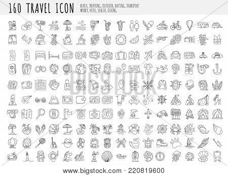 poster of Travel hand draw icons. Icon lined cartoon collection about adventure, outdoor activivies, beach, summer, travelling, get a vacation and extremal sport. Traveling icon set, sketch doodle elements