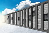 stock photo of mainframe  - A Conceptual vision of a Datacenter on the cloud  - JPG